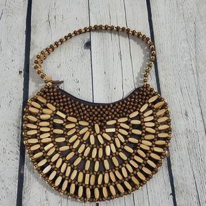 VINTAGE Wood Bead Mini Shoulder Bag